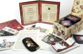 A Penny Black, 1840, together with certificate of authenticity; a commemorative £2 coin; further