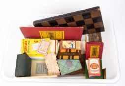 A collection of playing cards and games to include Waddingtons Travelling Bezique, a lacquered