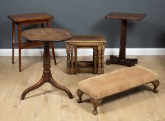 A small group of occasional furniture to include a Georgian oak tilt top occasional tripod table,