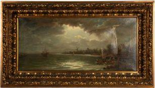 19th century Dutch school Coastal scene, oil on canvas, initialled JWR, 26cm x 59cm, mounted in a
