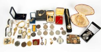 A miscellaneous collection of medals, costume jewellery and watches, the Great War for
