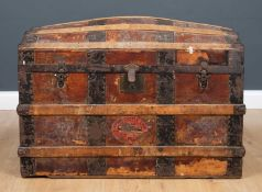 An early 20th century dome topped leather and bentwood trunk 92cm wide x 53cm deep x 61cm