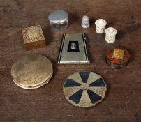 A Stewart tartanware turned treen stamp box 4.5cm diameter x 1.7cm high; a Tunbridgeware stamp