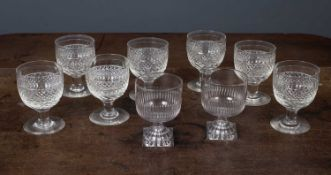 A set of seven early 19th century cut glass rummers each 8.5cm diameter x 12.5cm high together