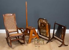 A mixed lot to include two 19th century swing toilet mirrors, a set of pine library steps, a child's