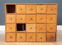 A late 19th / early 20th century wall mounting pine apothecary cabinet of drawer, 83cm wide x 21cm
