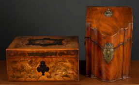 A George III walnut knife box with brass swan neck side handles and inlaid interior, 23cm wide x
