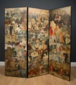 A Victorian three fold ebonised screen with scrap book decoration, 56cm wide x 156cm highCondition