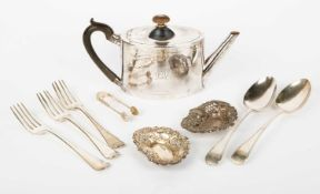 A Georgian silver teapot, three Victorian silver table forks, two silver tablespoons, silver sugar
