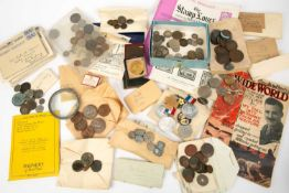 A collection of British and European coinage to include two worn George III silver crowns, further