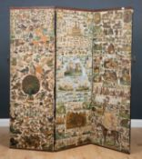 A Victorian three fold scrap screen decorated with animals and fruits, each section 56cm wide x