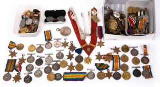 A large collection of war and sporting medals to include nineteen 1914-1918 war medals, all Privates