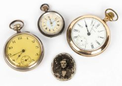 A gold plated Waltham pocket watch, a small French white metal cased pocket watch, a further