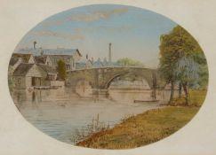W.E.M. (19th century English school) St Neots, watercolour, 9cm x 12cm (oval)Condition report: In