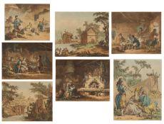 Jean-Baptiste LePrince, seven hand coloured prints, six approximately 14.5cm x 18cm, the smaller
