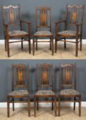 A set of six oak arts and crafts dining chairs with decorative pierced splats and inset seats, the