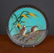 A late 19th century Japanese cloisonné charger decorated with partridge, 31cm diameter Condition
