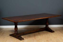 A modern oak rectangular refectory table 222cm wide x 108cm deep x 74cm highCondition report: In