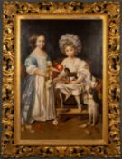 A decorative oil painting in the 17th century manner, of two children and a dog, oil on canvas,