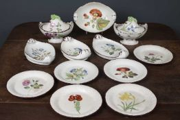 A 19th century Davenport pottery botanical part dessert service, the two tureens and covers and four