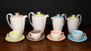 Poole Pottery tea wares predominantly blue, green and brown glaze, approximately 55