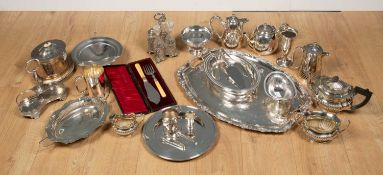 A quantity of antique and later silver plate to include a tray, a teapot, biscuit barrel