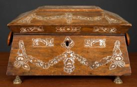 A 19th century rosewood and mother of pearl inlaid sewing box of sarcophagus form, with turned