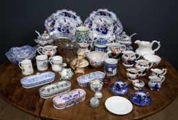 A collection of decorative ceramics and other items to include two Bohemian overlaid cut glass
