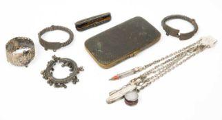Miscellaneous items to include white metal bangles, silver penknife, Sampson Morden white metal