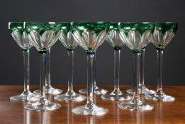 A set of ten early 20th century Val St Lambert hock/wine glasses, each signed to base, 19.5cm high x