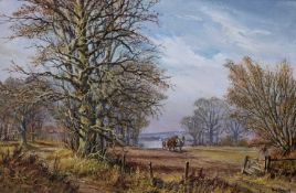 Don Vaughan two agricultural country scenes, oil on canvas, each 38cm x 58cm, both mounted in gilded