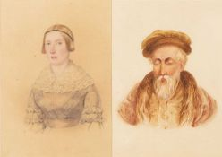 A pair of mid 19th century watercolour portraits of a bearded gentleman and his wife, each unsigned,