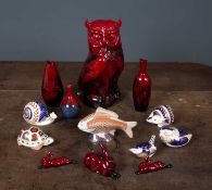 A group of six Royal Crown Derby porcelain paperweights the hedgehog, grouse, wren and tortoise, all