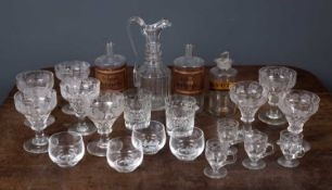 A collection of China and glass to include a set of eight 19th century cut glass rummers with