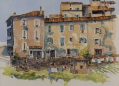 Jim Woods (20th century), Hotel at Aurel, signed, watercolour, 46 x 64cmCondition report: At