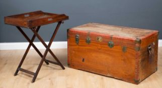 A 19th century mahogany Butler's tray on stand 70cm wide x 44cm deep x 78cm high together with a