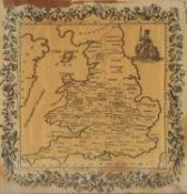 A George III or Regency silkwork map sampler of England, set within a ribbon tied floral border,