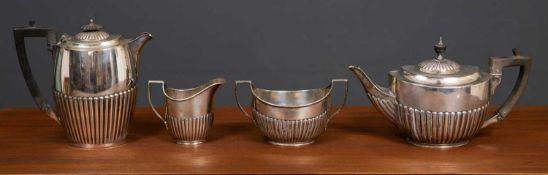A three piece silver tea set by John Cockburn Silversmith Richmond, approximately 760 grams together