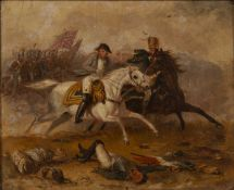 In the manner of Abraham Cooper (1787-1868) Napolean fleeing a British advance at Waterloo, oil on