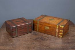 A William IV mahogany jewellery box by Edwards, Manufacturer to the King, with brass mounts and