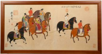A decorative Chinese print depicting horse riders, 61.5cm x 125cmCondition report: Some creases