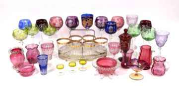 Miscellaneous antique and later glassware to include cut and coloured glass hock glasses, an early