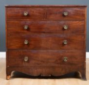 A 19th century mahogany chest of two short and three long drawers having later brass handles and