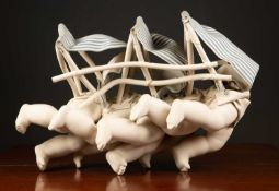 Late 20th / early 21st century English school 'Land Ship', porcelain, unsigned 52cm long x