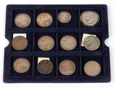 A mixed group of coinage consisting of two George III crowns for 1819 and 1820; four Victorian