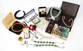 A collection of jewellery and costume jewellery, to include a serpent collar necklace by Butler &