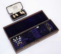 Pair of 9ct gold cufflinks and a selection of dress studs in vintage caseCondition report: At