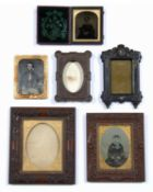 Thermoplastic ambrotype frame complete with an image of a seated lady quarter plate, together with a