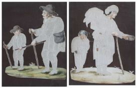Pair of pricked paper pictures late 18th/ early 19th Century, depicting mendicants, the features and
