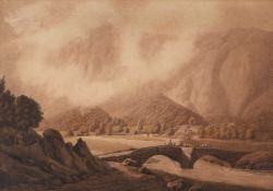 Attributed to William Green (1761-1823) 'Lake District', sepia, 34cm x 50cmCondition report: Some